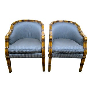 Faux Bamboo Blue Barrel Back Chairs - A Pair