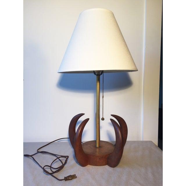 Mid Century Modern Teak Sculptural Table Lamp - Image 2 of 4