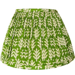 Green Cotton Print Gathered Lamp Shade