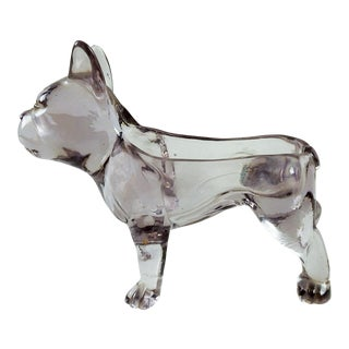 French Bull Dog Figural Glass Dish