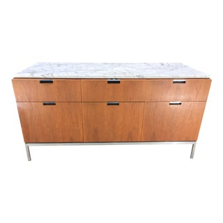Florence Knoll 6-Drawer Teak Credenza with Carrera Marble Top