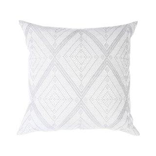 "Large Gray Diamond Handwoven Pillow - 18"" X 18"""