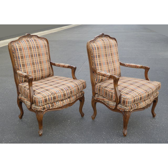 Vintage French Country Carved Wood Brown Orange Plaid Chairs - A Pair - Image 4 of 10