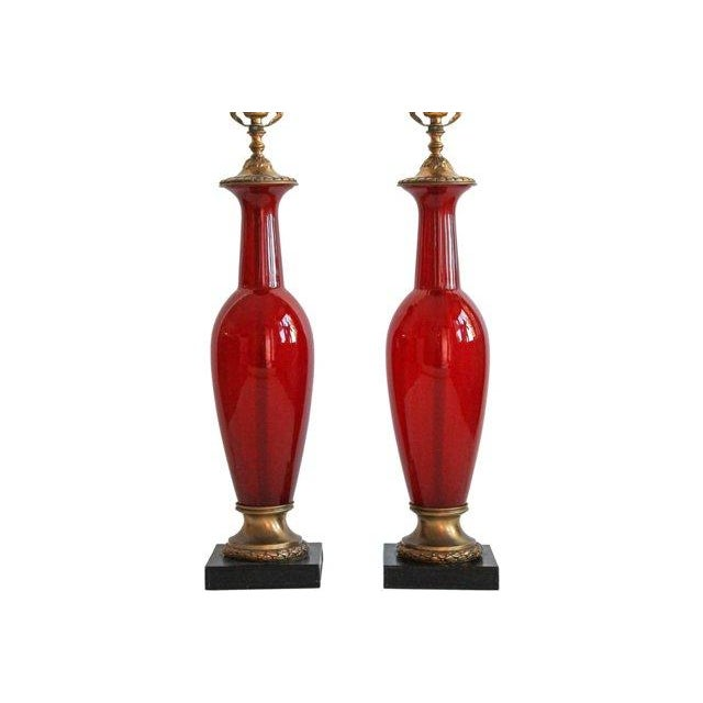 Image of Neoclassical Blown Glass Table Lamps - A Pair