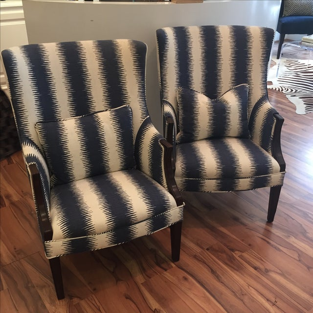 Image of Navy & White Wing Chairs - A Pair