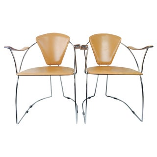 Italian Ferrari Cognac Leather Chairs - A Pair