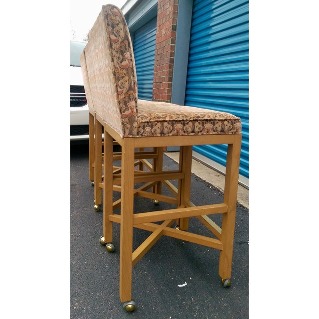 Image of Velvet 1980s Bar Stools on Caster - Set of 3
