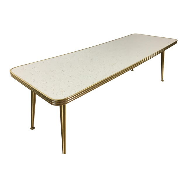 Mid-Century Brass & Formica Coffee Table - Image 1 of 8