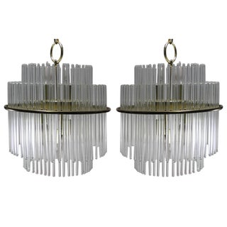 Gaetano Sciolari Brass Glass Chandeliers - A Pair