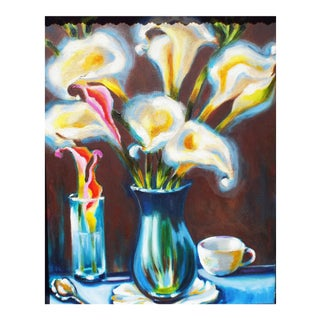 Tea & Lilies Oil Painting