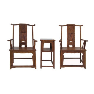 Chinese Yoke-Back Yellow Rosewood Armchairs Set