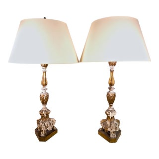 Gilded Wooden Candlestick Lamps - A Pair