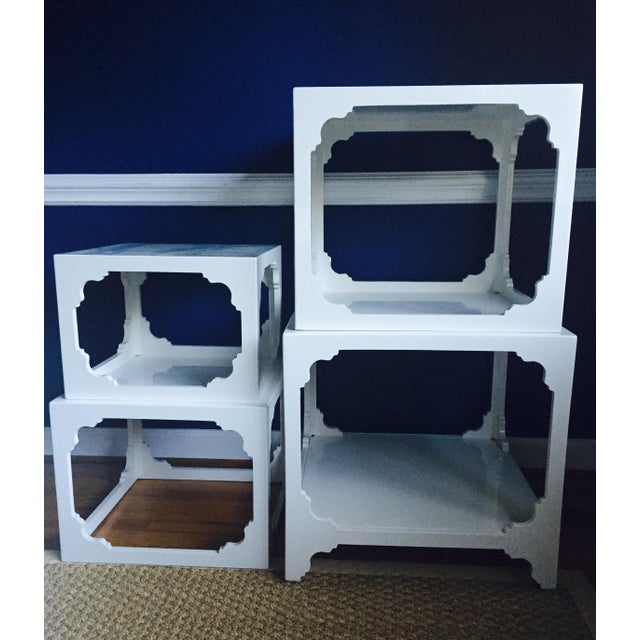 White Lacquered Stacking Cube Tables - Set of 4 - Image 3 of 9