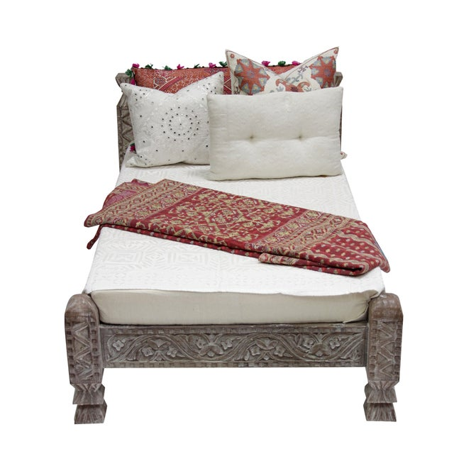 Syrian Whitewashed Daybed with Floral Details - Image 5 of 7