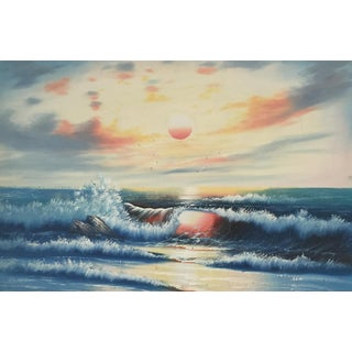Vintage Acrylic Ocean Painting