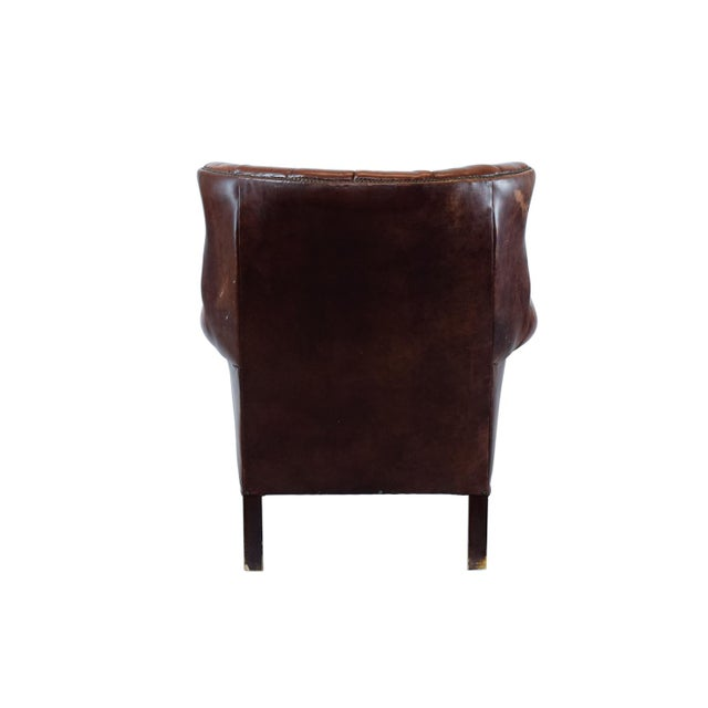 Vintage Leather Wing Back Chair - Image 4 of 4