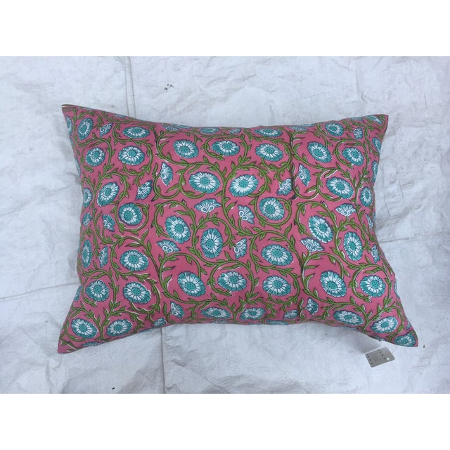 Hand-Blocked Pink Indian Pillows - A Pair - Image 4 of 6