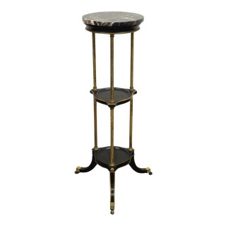 Antique Black French Regency Marble Top & Brass Pedestal Plant Stand Table