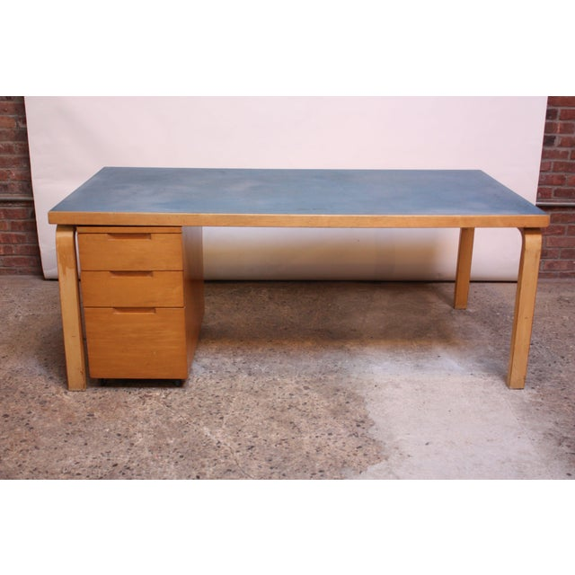 Alvar Aalto Birch Dining or Writing Table with Blue Top and Cabinet - Image 11 of 11