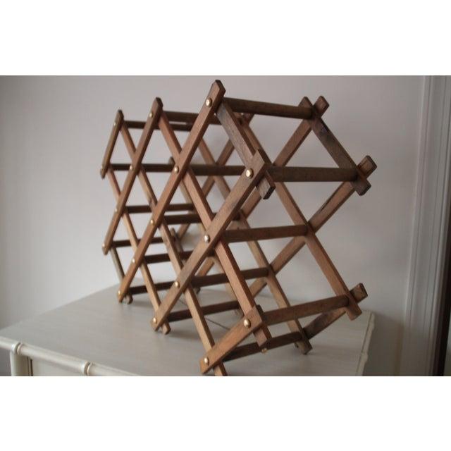 Image of Vintage Wooden Accordion Wine Rack