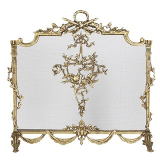 Louis XVI Style Brass Fireplace Screen