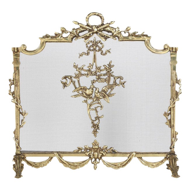 Louis XVI Style Brass Fireplace Screen - Image 1 of 10
