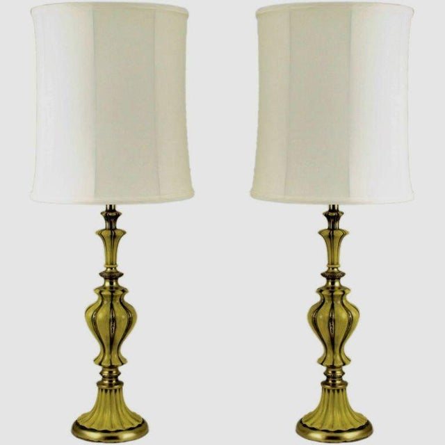 Image of Pair Rembrandt Brass & Antiqued Saffron Yellow Table Lamps
