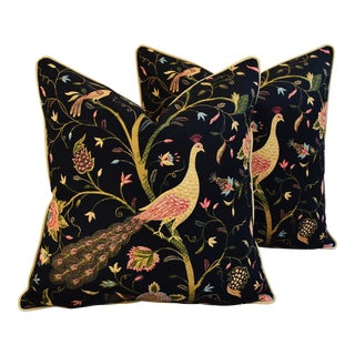 Custom Chinoiserie Peacock & Floral Feather/Down Pillows - Pair