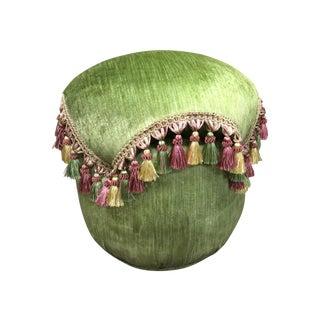 Green Velvet Tassel Ottoman