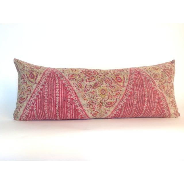 Vintage Block Printed Pink Kantha Quilt Pillow - Image 2 of 3