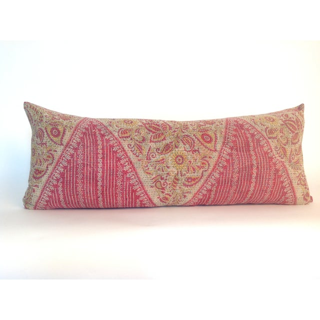 Image of Vintage Block Printed Pink Kantha Quilt Pillow