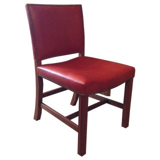 Red Leather Chair with Nailhead Trim