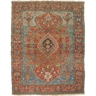 "Antique Heriz Carpet - 12'6"" x 10'"