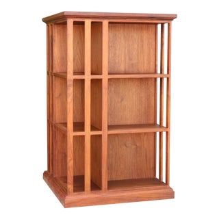 Mid Century Walnut Rotating Bookcase