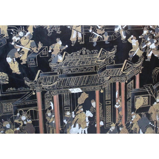 Large Vintage Chinese Black Lacquer Wall Panel - Image 4 of 9