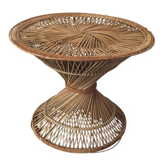 Vintage Hourglass Rattan Side Table