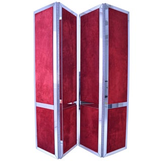 Pair of Custom Mirrored and Upholstered Screens