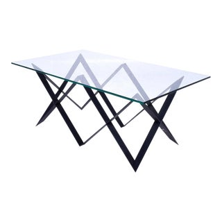 "Custom ""X"" Base Iron & Glass Coffee Table"
