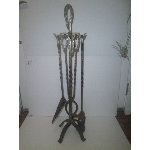 Image of Vintage Forged Brass Fireplace Tools & Caddy