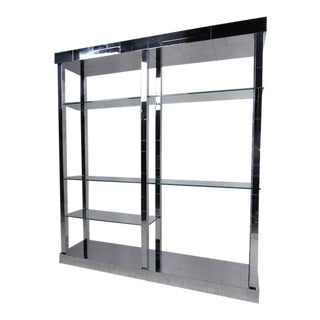 "Mid-Century Paul Evans ""Cityscape"" Chrome and Glass Shelf Unit"