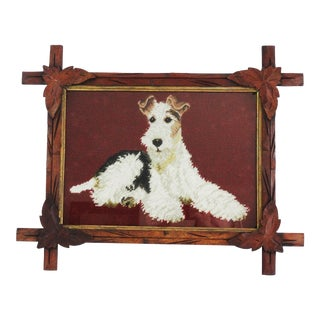Antique Black Forest Framed English Terrier Dog Needlepoint