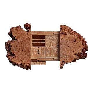 Michael Elkan studio craft maple burl wall cabinet, USA