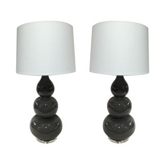 Grey Ceramic Gourd Shaped Lamps - A Pair