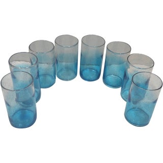 Blue Ombre Glass Tumblers - Set of 8