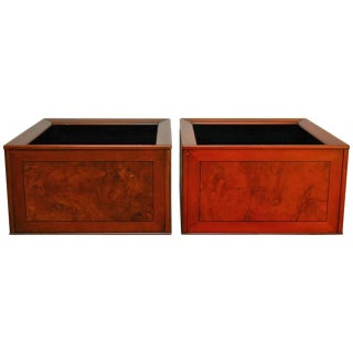 Italian Planters With Burl Wood Insets - A Pair