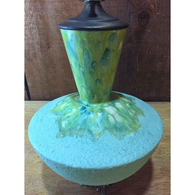 Mid-Century Modern Drip Glaze Green Lamp - Image 3 of 7
