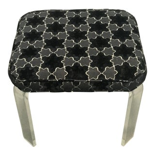 Mid-Century Lucite Upholstered Square Bench