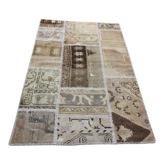 Vintage Turkish Overdyed Patchwork Oushak Rug - 3′4″ × 5′