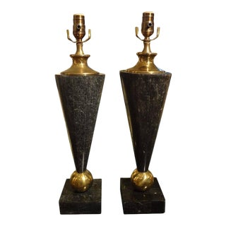 Karl Springer Inspired Mid-Century Modern Tessellated Stone and Brass Lamps - a Pair