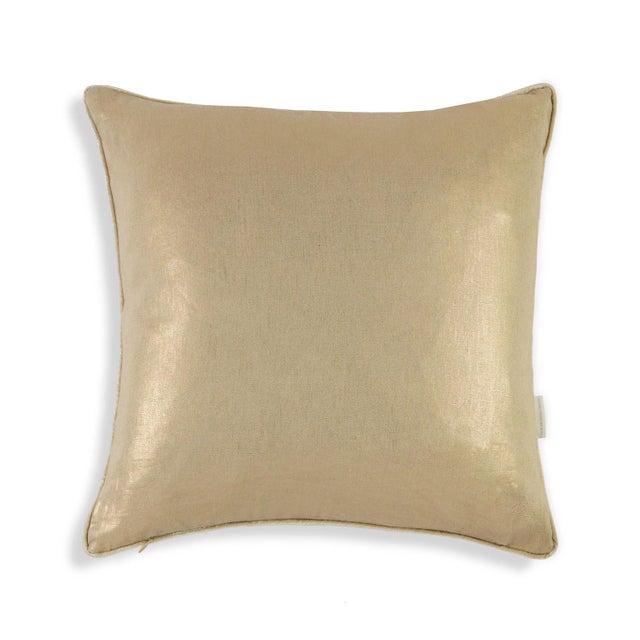 Metallic Linen Swallow Garden Pillow, Gold - Image 3 of 4